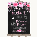 Chalk Style Watercolour Pink Floral Polaroid Picture Customised Wedding Sign