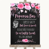 Chalk Style Watercolour Pink Floral Popcorn Bar Customised Wedding Sign