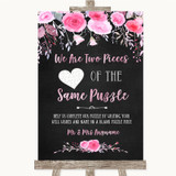 Chalk Style Watercolour Pink Floral Puzzle Piece Guest Book Wedding Sign