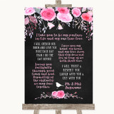 Chalk Style Watercolour Pink Floral Romantic Vows Customised Wedding Sign