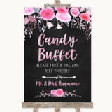 Chalk Style Watercolour Pink Floral Candy Buffet Customised Wedding Sign