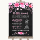 Chalk Style Watercolour Pink Floral Rules Of The Dance Floor Wedding Sign