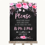 Chalk Style Watercolour Pink Floral Share Your Wishes Customised Wedding Sign