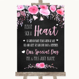 Chalk Style Watercolour Pink Floral Sign a Heart Customised Wedding Sign