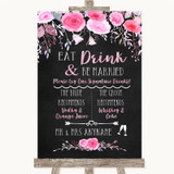 Chalk Style Watercolour Pink Floral Signature Favourite Drinks Wedding Sign