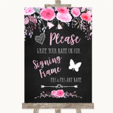 Chalk Style Watercolour Pink Floral Signing Frame Guestbook Wedding Sign