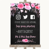 Chalk Style Watercolour Pink Floral Social Media Hashtag Photos Wedding Sign