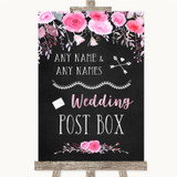 Chalk Style Watercolour Pink Floral Card Post Box Customised Wedding Sign