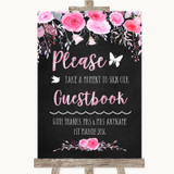 Chalk Watercolour Pink Floral Take A Moment To Sign Our Guest Book Wedding Sign