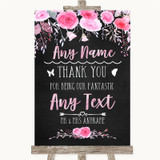 Chalk Watercolour Pink Thank You Bridesmaid Page Boy Best Man Wedding Sign