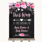 Chalk Style Watercolour Pink Floral This Way Arrow Left Wedding Sign