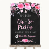 Chalk Style Watercolour Pink Floral Toilet Get Out & Dance Wedding Sign