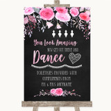 Chalk Style Watercolour Pink Floral Toiletries Comfort Basket Wedding Sign