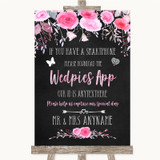 Chalk Style Watercolour Pink Floral Wedpics App Photos Customised Wedding Sign