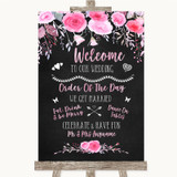 Chalk Style Watercolour Pink Floral Welcome Order Of The Day Wedding Sign
