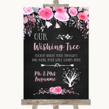 Chalk Style Watercolour Pink Floral Wishing Tree Customised Wedding Sign