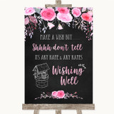 Chalk Style Watercolour Pink Floral Wishing Well Message Wedding Sign