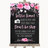 Chalk Style Watercolour Pink Floral Selfie Photo Prop Customised Wedding Sign