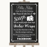 Chalk Style Don't Post Photos Facebook Customised Wedding Sign