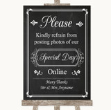 Chalk Style Don't Post Photos Online Social Media Customised Wedding Sign