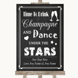 Chalk Style Drink Champagne Dance Stars Customised Wedding Sign
