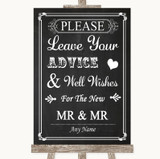 Chalk Style Guestbook Advice & Wishes Gay Customised Wedding Sign