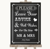 Chalk Style Guestbook Advice & Wishes Mr & Mrs Customised Wedding Sign