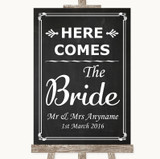 Chalk Style Here Comes Bride Aisle Sign Customised Wedding Sign