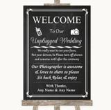 Chalk Style No Phone Camera Unplugged Customised Wedding Sign