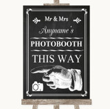 Chalk Style Photobooth This Way Left Customised Wedding Sign