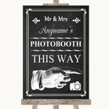 Chalk Style Photobooth This Way Right Customised Wedding Sign