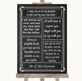 Chalk Style Romantic Vows Customised Wedding Sign