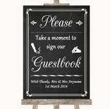 Chalk Style Take A Moment To Sign Our Guest Book Customised Wedding Sign
