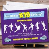 Purple Fortnite Dances Customised Children's Birthday Party Invitations