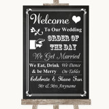 Chalk Style Welcome Order Of The Day Customised Wedding Sign