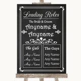 Chalk Style Who's Who Leading Roles Customised Wedding Sign