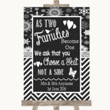 Chalk Winter As Families Become One Seating Plan Customised Wedding Sign