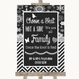 Chalk Winter Choose A Seat We Are All Family Customised Wedding Sign