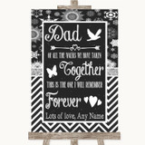 Chalk Winter Dad Walk Down The Aisle Customised Wedding Sign
