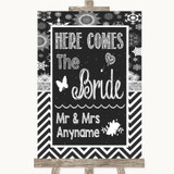 Chalk Winter Here Comes Bride Aisle Sign Customised Wedding Sign