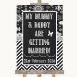 Chalk Winter Mummy Daddy Getting Married Customised Wedding Sign