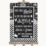 Chalk Winter Plant Seeds Favours Customised Wedding Sign