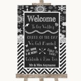 Chalk Winter Welcome Order Of The Day Customised Wedding Sign