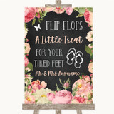 Chalkboard Style Pink Roses Flip Flops Dancing Shoes Customised Wedding Sign