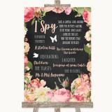 Chalkboard Style Pink Roses I Spy Disposable Camera Customised Wedding Sign