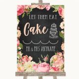 Chalkboard Style Pink Roses Let Them Eat Cake Customised Wedding Sign