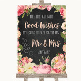Chalkboard Style Pink Roses Blow Bubbles Customised Wedding Sign