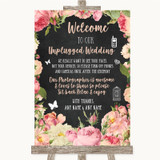 Chalkboard Style Pink Roses No Phone Camera Unplugged Customised Wedding Sign
