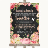 Chalkboard Style Pink Roses Photo Guestbook Friends & Family Wedding Sign