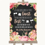 Chalkboard Style Pink Roses Photo Prop Guestbook Customised Wedding Sign